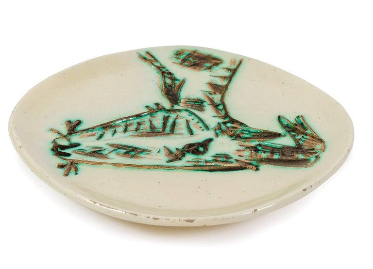 "Glazed Pablo Picasso Ceramic Plate ""Tete de Chevre de Profil"" for Madoura, France, 1950 For Sale"