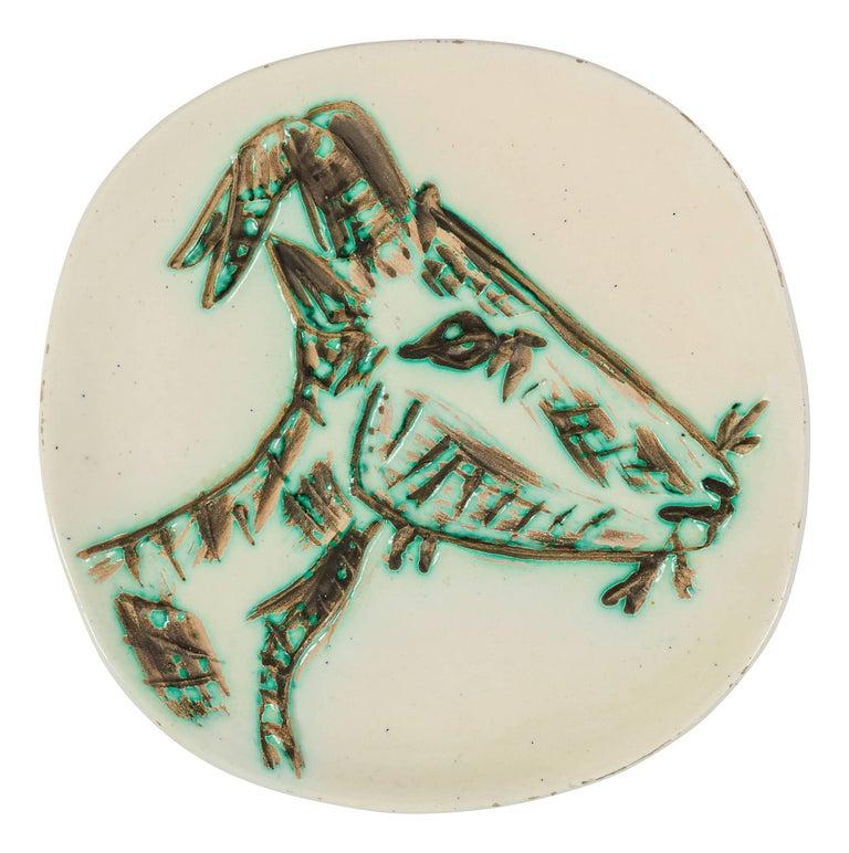 "Pablo Picasso Ceramic Plate ""Tete de Chevre de Profil"" for Madoura, France, 1950 For Sale"