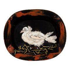 Pablo Picasso, Colombe Sur Lit De Paille, Earthenware Dish 1949 'AR79'