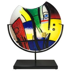 Pablo Picasso Inspired, Abstract Italian Fused Modern Art Glass Sculpture Vase