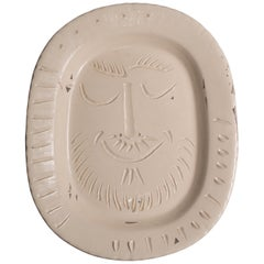 Pablo Picasso 'Man's Face', Dish of White Earthenware by Madoura Factory, 1955