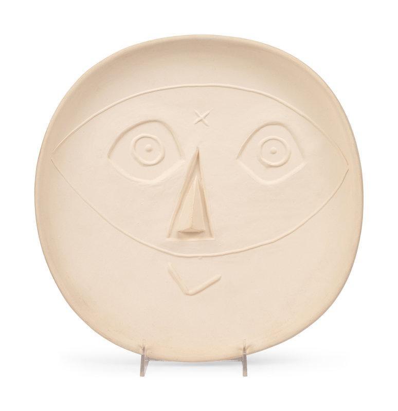 Tête au masque, Picasso, ceramic, 1950's, monochrome, plate, design, mask,design