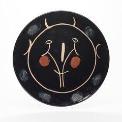 """"""" Black Face """". Large plate Visage Noir . 42cm."""