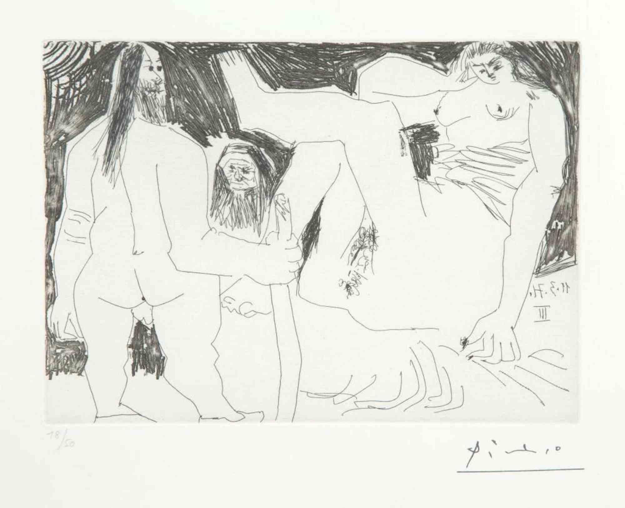 11 Mars 1971 III - Original Etching by Pablo Picasso - 1971