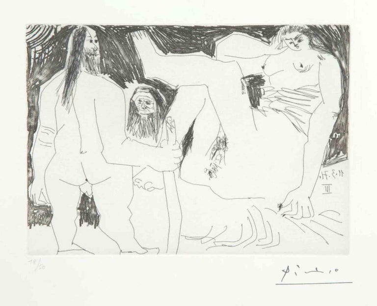 """11 Mars 1971 III is an original Contemporary Artwork realized by Pablo Picasso (Malaga, 1881 - Moujins, 1973) in the 1971.  Original B/W Etching on Wove paper. The work is the sheet N. 76 from the series """"156 Gravures"""".  Sheet Dimensions: 23 x 31"""