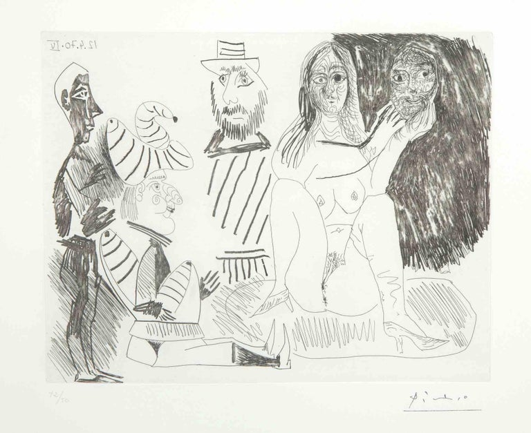 """12 Avril 1970 IV is an original Contemporary Artwork realized by Pablo Picasso (Malaga, 1881 - Moujins, 1973) in 1970.  Original B/W Etching on Wove paper. The work is the sheet N. 34 from the series """"156 Gravures"""". This has the stamped signature in"""