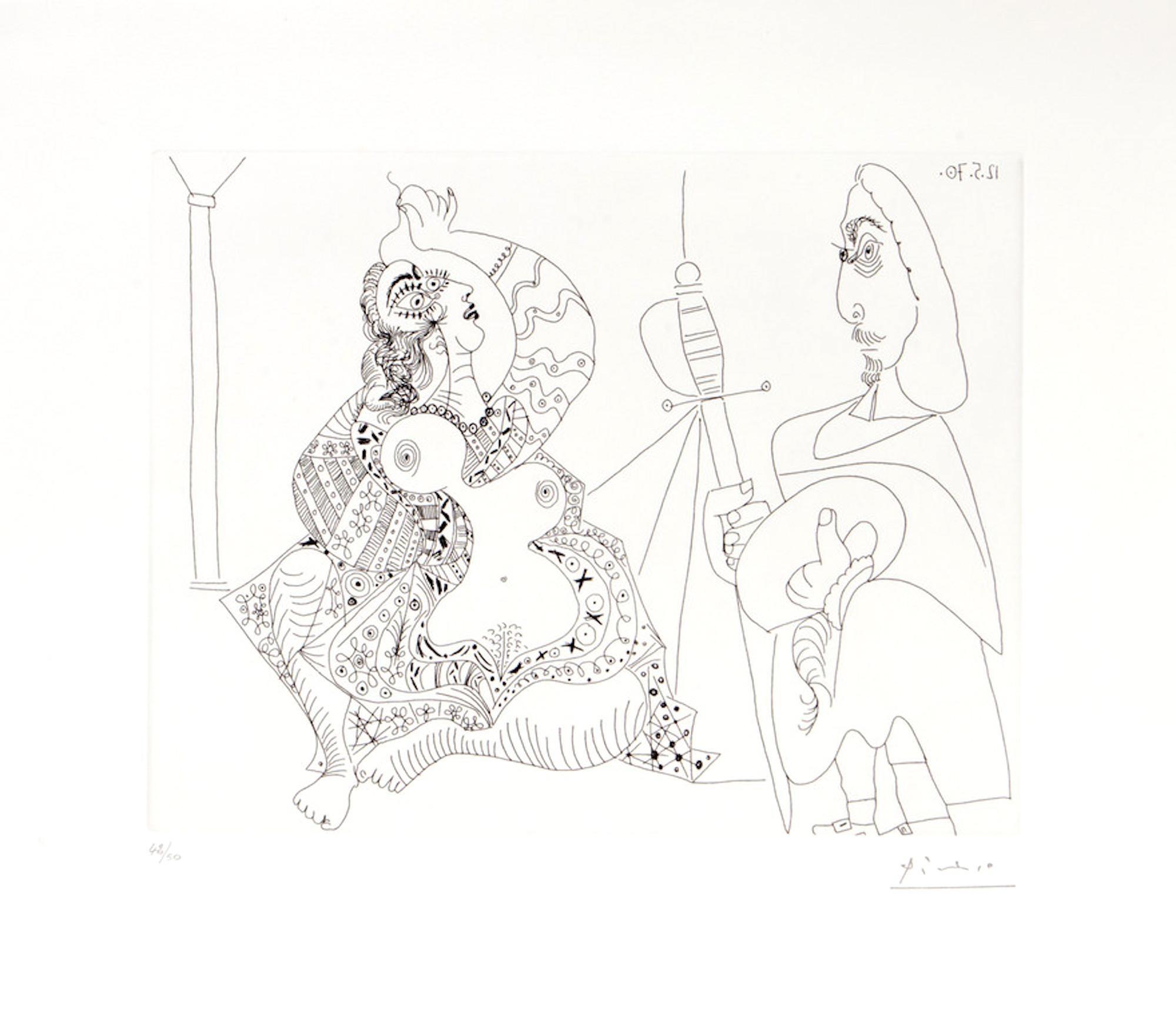 156 Series No.47 - Original Etching by P. Picasso - 1970