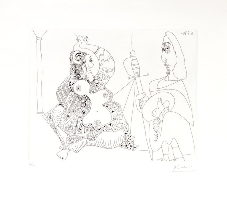Pablo Picasso Figurative Print - 156 Series No.47 - Original Etching by P. Picasso - 1970