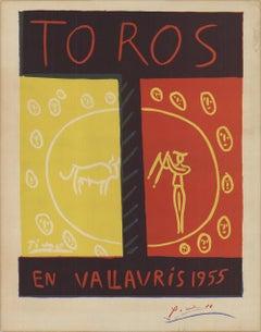 1955 Pablo Picasso 'Toros En Vallauris' Cubism France Lithograph