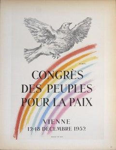 1959 After Pablo Picasso 'Congres des Peuples Pour la Paix' Cubism Lithograph