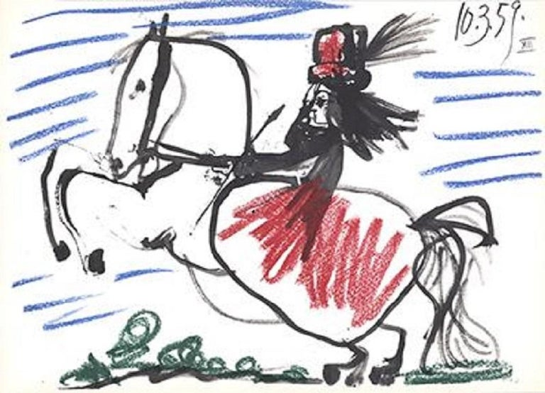 1959 Pablo Picasso 'Equestrian' Cubism Black,White,Green,Blue,Red France Offset  - Print by Pablo Picasso