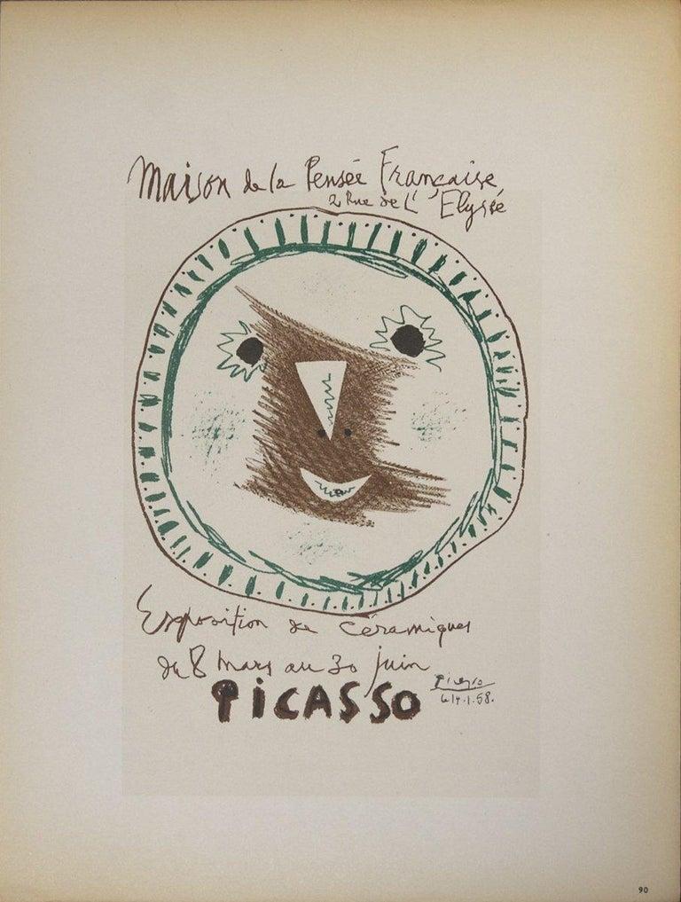 1959 Pablo Picasso 'Exposition de Ceramiques' Cubism Brown Lithograph - Print by Pablo Picasso