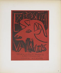 1959 Pablo Picasso 'Exposition Vallauris' Cubism Red France Lithograph