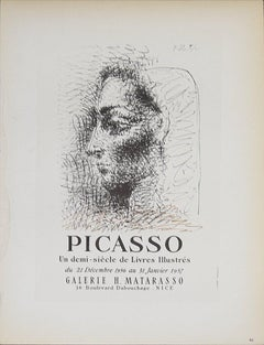 1959 After Pablo Picasso 'Galerie Matarasso' Cubism Black & White Lithograph