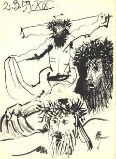 1959 Pablo Picasso 'Jesus on the Cross (Detail)' Cubism Black & White France Lit