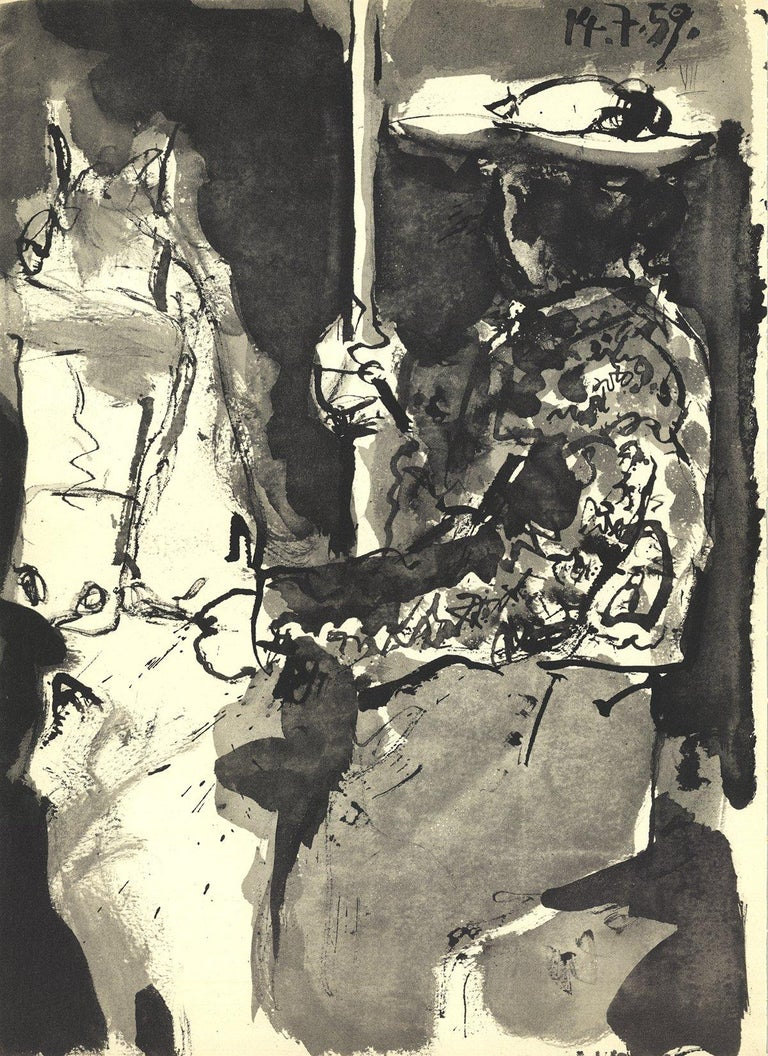 1959 Pablo Picasso 'Knight on a Horse' Cubism Black & White France Lithograph - Print by Pablo Picasso