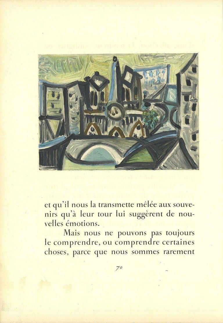 1959 After Pablo Picasso 'Le pont Dans l'Atelier' Cubism Lithograph - Print by Pablo Picasso