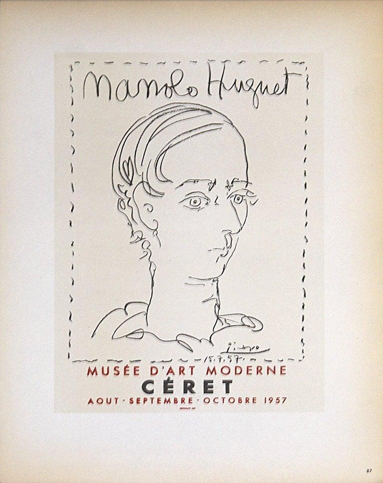 1959 Pablo Picasso 'Manolo Huguet' Cubism Black & White France Lithograph - Print by Pablo Picasso