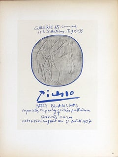1959 After Pablo Picasso 'Pates Blanches' Cubism Gray Lithograph
