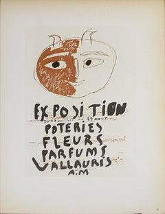 1959 After Pablo Picasso 'Poteries Fleurs Parfums' Cubism Orange Lithograph
