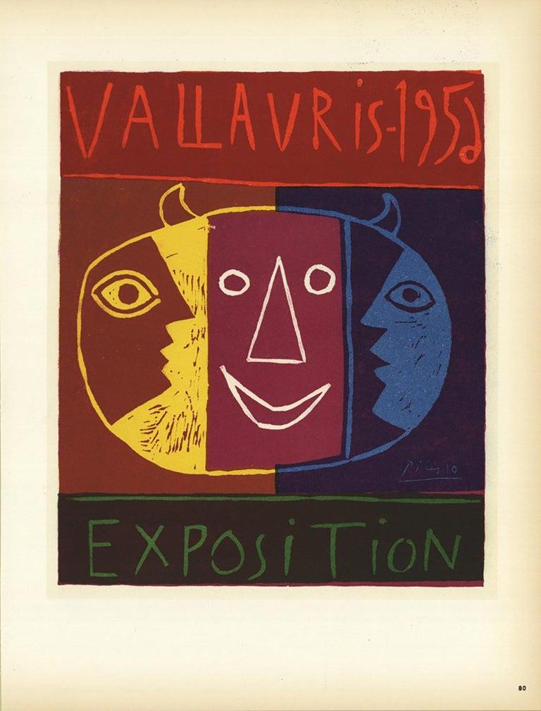 1959 Pablo Picasso 'Vallauris' Cubism Multicolor,Brown France Lithograph - Print by Pablo Picasso