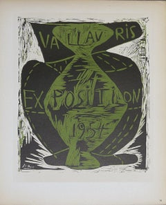 1959 Pablo Picasso 'Vallauris Exposition' Cubism Green,Black France Lithograph