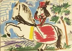 1960 Pablo Picasso 'Equestrian-Cavalliere' Cubism Black,Blue,Brown,Green