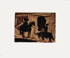 1962 After Pablo Picasso 'Avant la Pique' Cubism Multicolor,Brown France Linocut