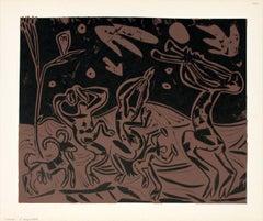 1962 Pablo Picasso 'Les Danseurs au Hibou' Cubism Brown,Black France Linocut