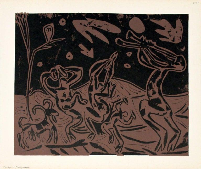 1962 Pablo Picasso 'Les Danseurs au Hibou' Cubism Brown,Black France Linocut - Print by Pablo Picasso