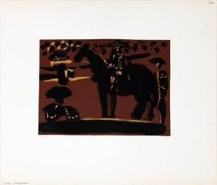 1962 Pablo Picasso 'Picador' Cubism Black,Brown,Yellow France Linocut