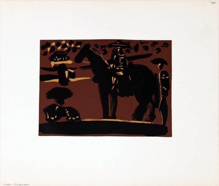 1962 Pablo Picasso 'Picador' Cubism Black,Brown,Yellow France Linocut - Print by Pablo Picasso