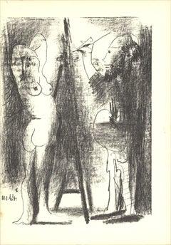 1964 Pablo Picasso 'Le Peintre et son modele (Lg)' Cubism Gray Lithograph