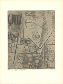 1966 Pablo Picasso 'Papiers Colles' Cubism Brown France Lithograph