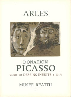 1971 After Pablo Picasso 'Arles' Cubism Black & White,Brown France Lithograph