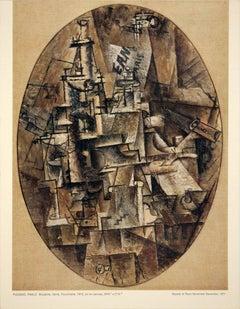 1971 After Pablo Picasso 'Bottle, Glass, Fork, DECK OF 10' Cubism Brown France