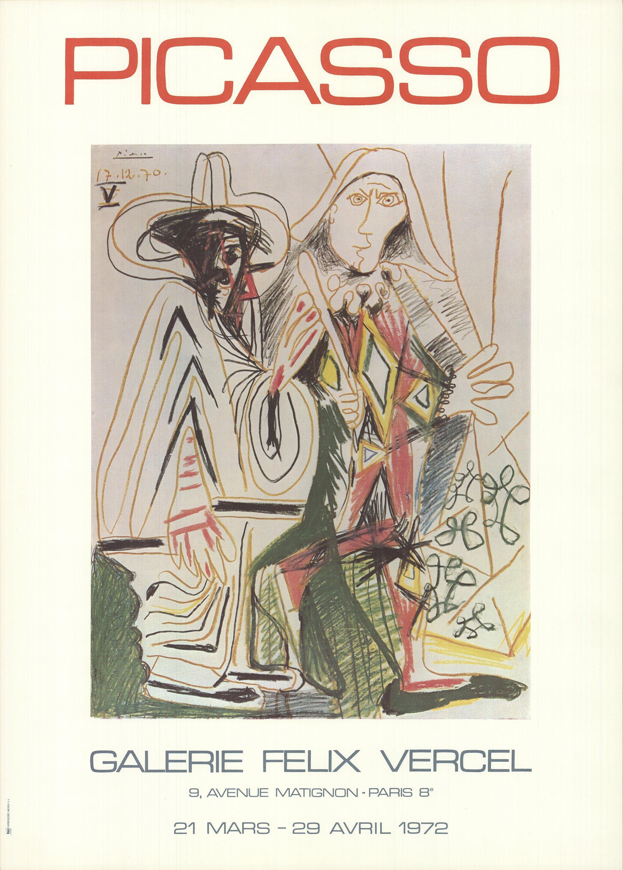 1972 After Pablo Picasso 'Galerie Felix Vercel' Cubism France Offset Lithograph
