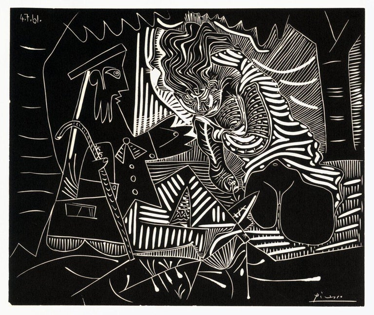 1972 Pablo Picasso 'Luncheon on the Grass (white)' Cubism Black & White USA  - Print by Pablo Picasso