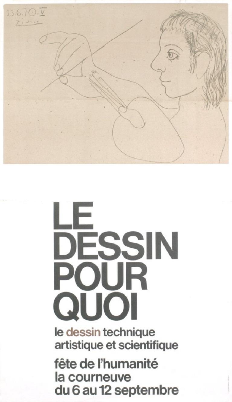 1973 Pablo Picasso 'Le Dessin Pour Quoi' Cubism Black & White France Offset