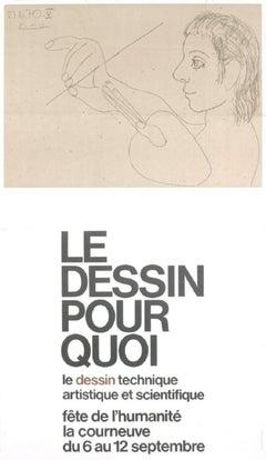 1973 After Pablo Picasso 'Le Dessin Pour Quoi' Cubism Black & White France