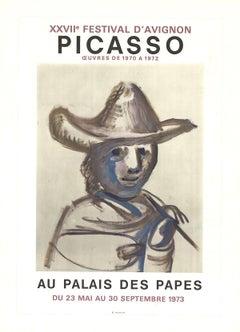 1973 Pablo Picasso 'XXVII Festival D'Avignon' Cubism Brown France Lithograph