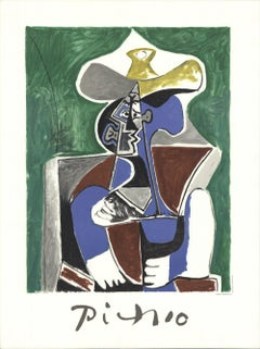 1982 Pablo Picasso 'Buste Au Chapeau Jaune Et Gris' cubism France Lithograph