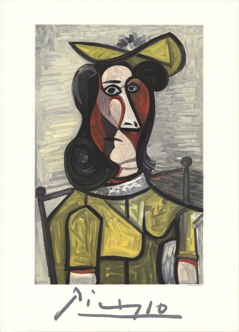 1982 After Pablo Picasso 'Portrait de Femme au Chapeau et a la Robe Vert Jaune'  - Print by Pablo Picasso