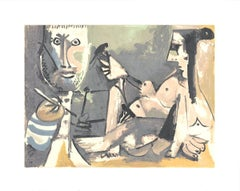 1991 Pablo Picasso 'The Artist and His Model' Cubism Gray,Brown USA Serigraph