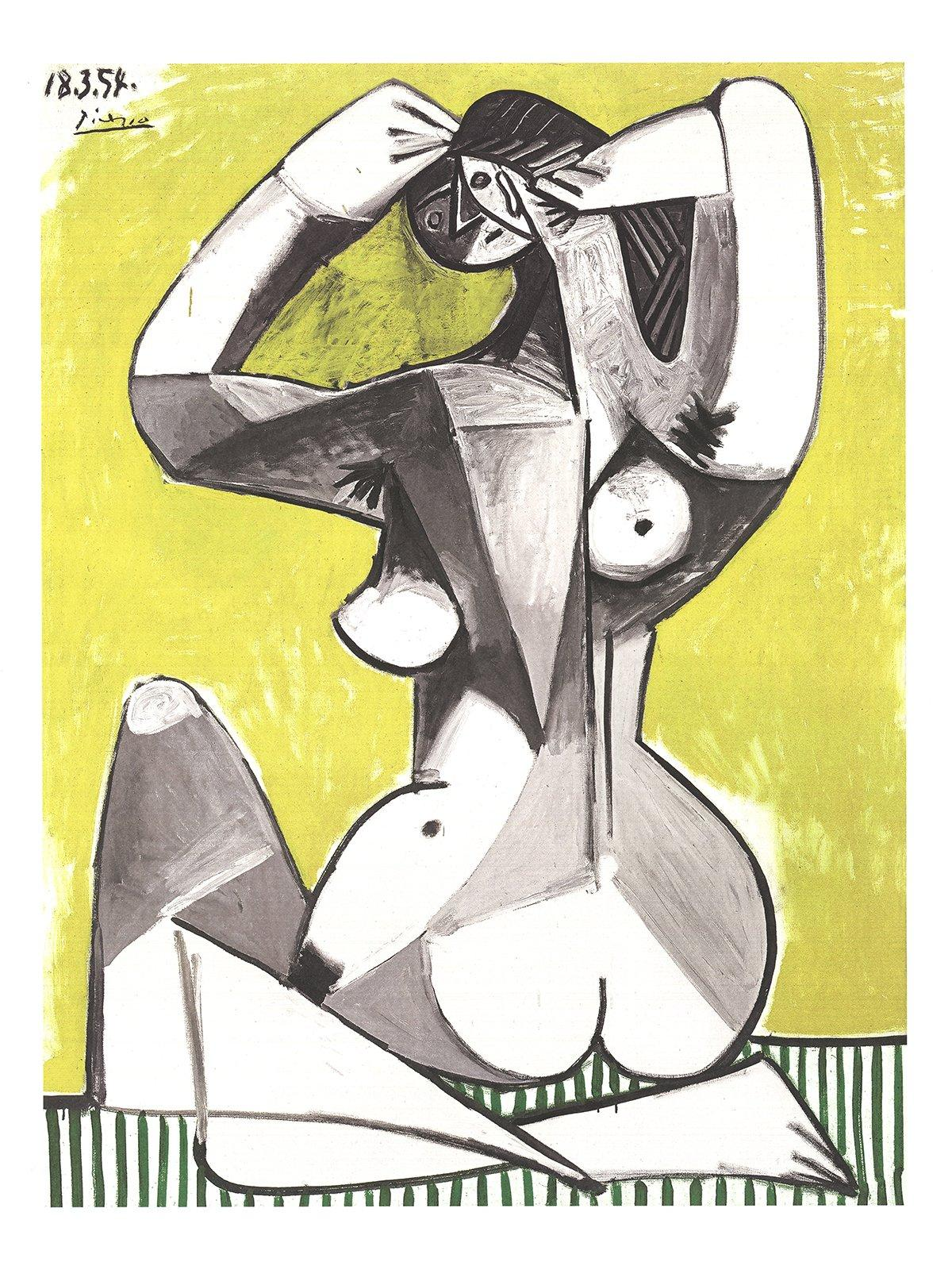 2002 Pablo Picasso 'Nu Accroupi' Cubism Gray,Yellow,White,Black & White Germany