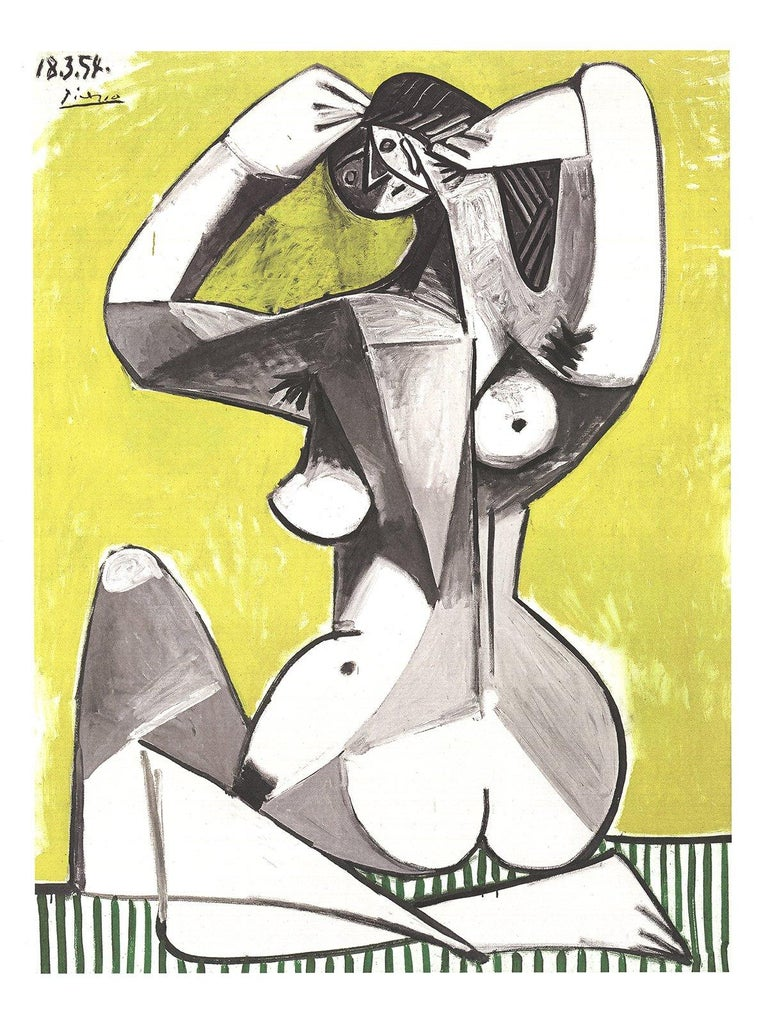 2002 Pablo Picasso 'Nu Accroupi' Cubism Gray,Yellow,White,Black & White Germany  - Print by Pablo Picasso
