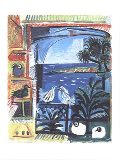 2016 Pablo Picasso 'The Pigeons II' Cubism Blue,White,Black & White,Red,Yellow,T