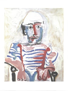 2019 Pablo Picasso 'Homme Assis' Cubism Black & White,Gray,Red Offset Lithograph