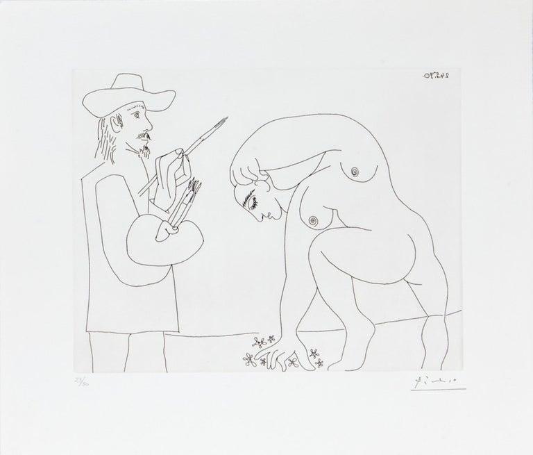 Pablo Picasso Figurative Print - 24.5.70 (24 Mai 1970) - Original Etching by P. Picasso - 1970