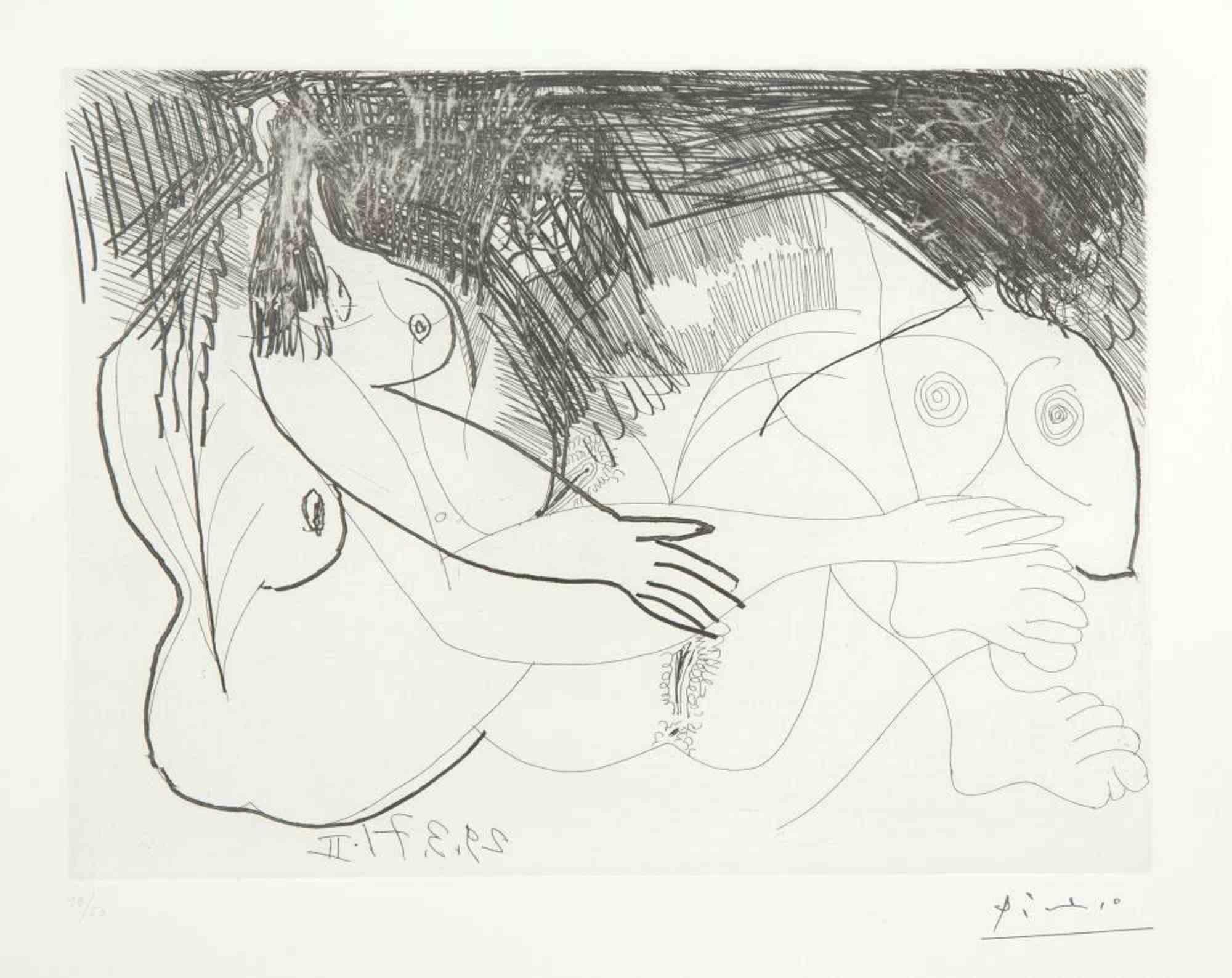 29 mars 1971 II - Original Etching by Pablo Picasso - 1971